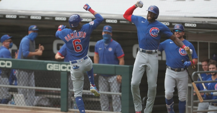 Center fielder Billy Hamilton became the first Cub to homer and steal home in the same game since 1967. (Credit: Dennis Wierzbicki-USA TODAY Sports)