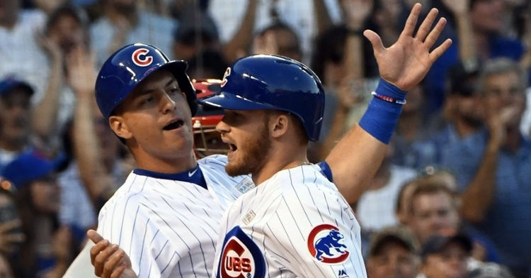 Cubs outfielders Albert Almora Jr. and Ian Happ both pulled off spectacular plays in center field on Sunday. (Credit: Matt Marton-USA TODAY Sports)