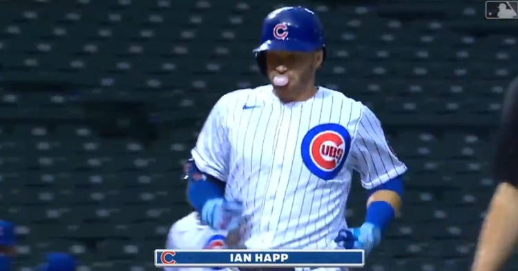 Cubs center fielder Ian Happ went yard in the bottom of the third on Saturday.