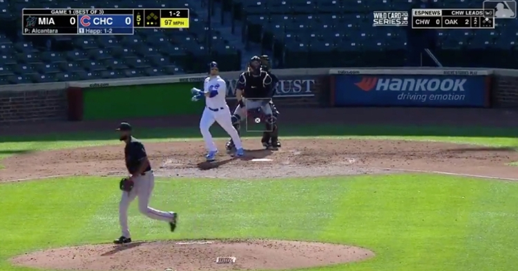 Down to his last strike with two outs, Cubs center fielder Ian Happ went yard, giving the Cubs their first postseason run.