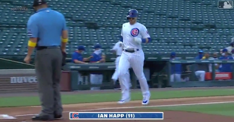 Chicago Cubs center fielder Ian Happ's 11th home run of the year also marked his fifth career leadoff blast.