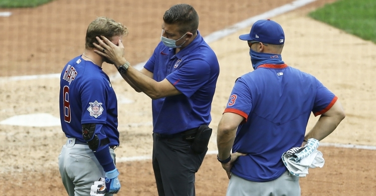 Ian Happ suffered a contusion above his right eye. (Charles LeClaire-USA TODAY Sports)