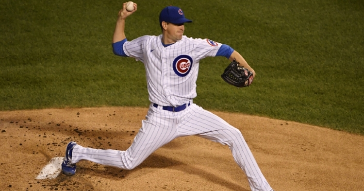 Cubs ace Kyle Hendricks established a new season high for himself by striking out 10 across eight shutout innings. (Credit: Quinn Harris-USA TODAY Sports)