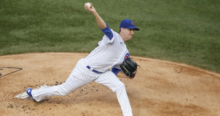 Chicago Cubs right-hander Kyle Hendricks fanned nine Milwaukee Brewers in a complete game shutout. (Credit: Kamil Krzaczynski-USA TODAY Sports)