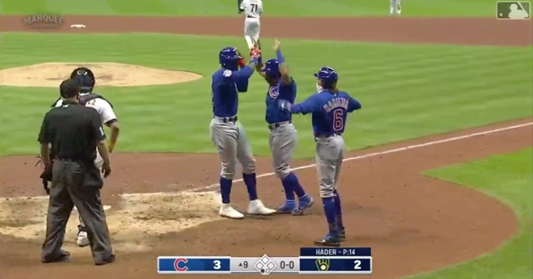 Jason Heyward provided the Cubs with their first lead in a series against the Brewers.