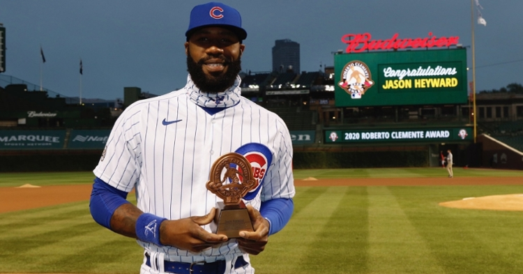 Chicago Cubs right fielder Jason Heyward received his Roberto Clemente Award on Wednesday. (Credit: @Cubs on Twitter)