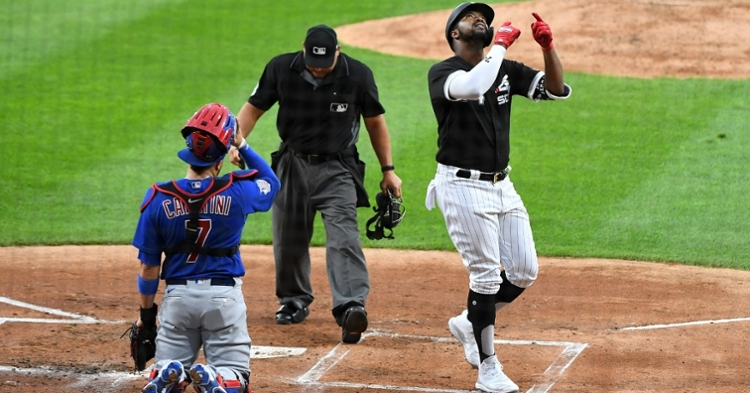 Eloy Jimenez smashed a jaw-dropping 466-foot rainmaker against the team that traded him three years ago. (Credit: Mike Dinovo-USA TODAY Sports)