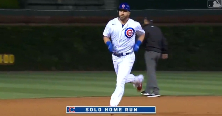 Veteran second baseman Jason Kipnis hit his first regular season home run with the Chicago Cubs on Friday.