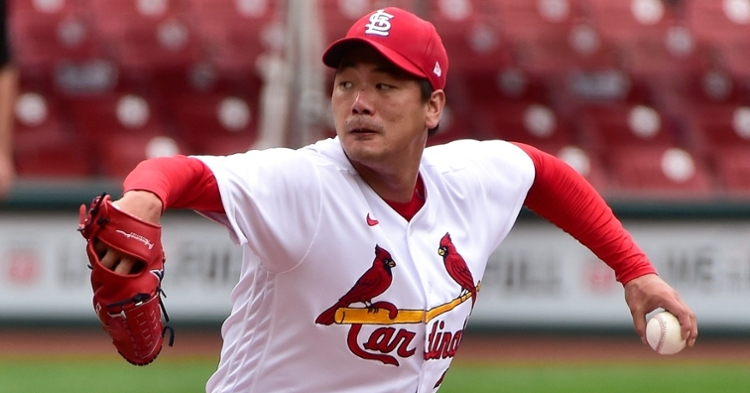 Lefty Cardinals starter Kwang-Hyun Kim was rushed to the emergency room with abdominal pain. (Credit: Jeff Curry-USA TODAY Sports)