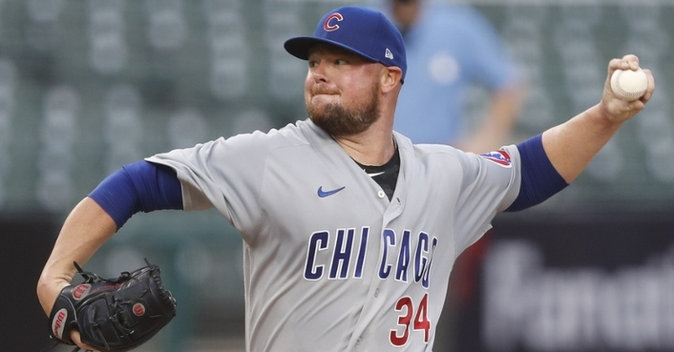Cubs lefty Jon Lester received a no-decision for his five-inning start on the mound. (Credit: Rej Mehta-USA TODAY Sports)