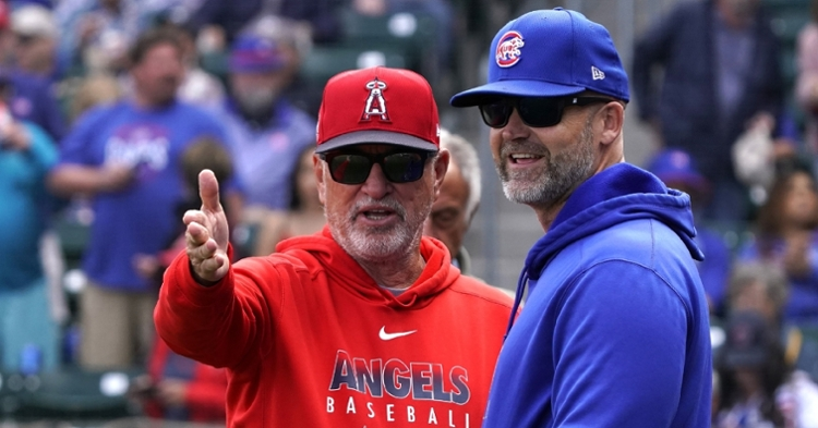 Maddon and Ross talking during Monday's pre-game (Rick Scuteri - USA Today Sports)