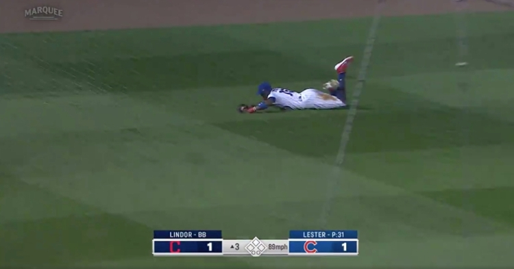 Cubs left fielder Cameron Maybin went airborne and pulled off an impressive diving catch.