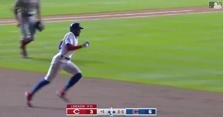 Cameron Maybin hustled around the bases for an RBI triple, driving home his first run as a Cub.