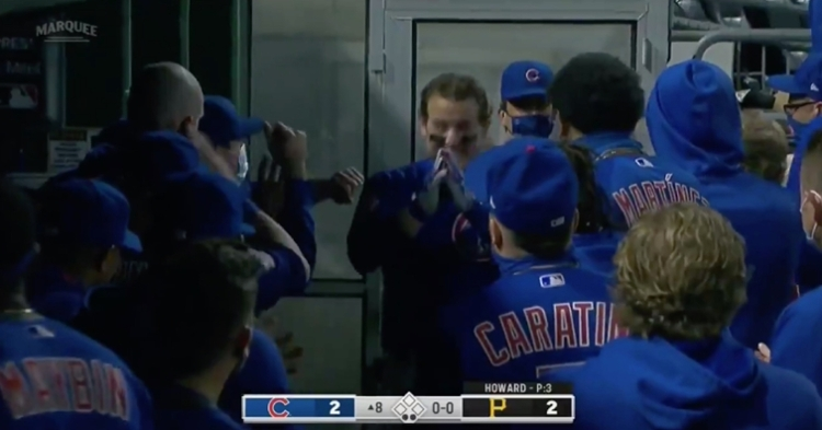 Anthony Rizzo's dugout celebration following a game-tying home run was quite hilarious.