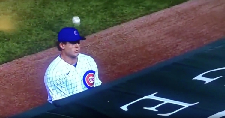 A foul ball hilariously boinked Anthony Rizzo in the head after rolling off the protective netting and bouncing off a dugout.