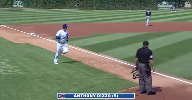 For some unknown reason, Anthony Rizzo expedited his home run trot in the first inning of Saturday's game.