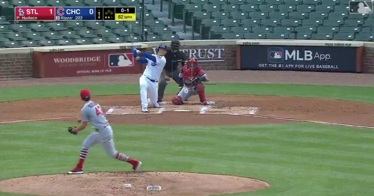 Aided by the wind, Anthony Rizzo lined a 430-foot bomb out to center field at the Friendly Confines.