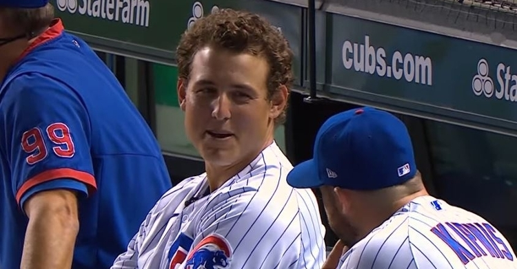 Anthony Rizzo joking around in the dugout
