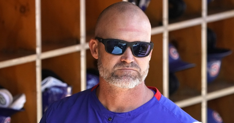 Cubs manager David Ross blew off some steam in the weight room after getting ejected for the first time as a skipper. (Credit: Rick Scuteri-USA TODAY Sports)