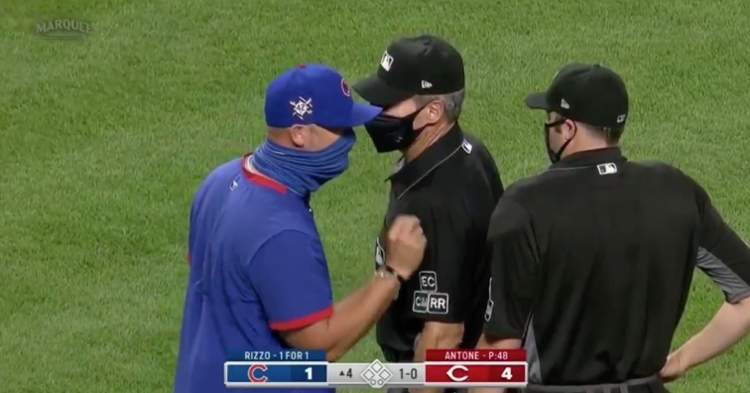 Cubs skipper David Ross was ejected for the first time as a big league manager.