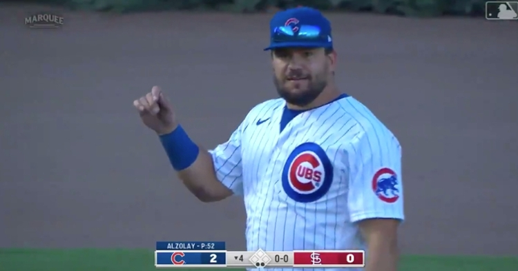 Kyle Schwarber reminded Matt Carpenter of how great of an arm he has when he gunned Carpenter down from left field.