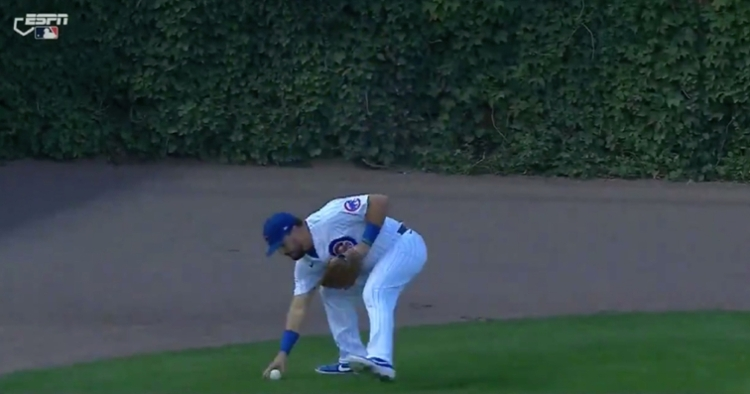 Kyle Schwarber was slow to field a ball in left field, and David Ross likely removed him from the game because of it.