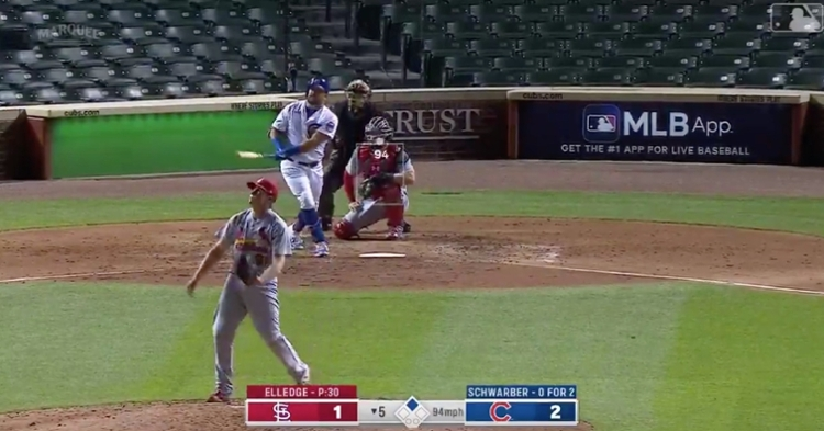 Cubs slugger Kyle Schwarber knew that the ball was gone as soon as it left his bat.