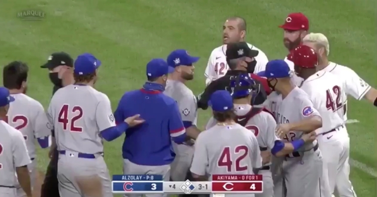 Veteran Reds slugger Joey Votto was ejected after storming out of the dugout to confront fellow first baseman Anthony Rizzo.
