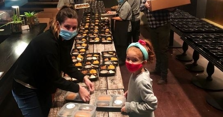 Thanksgiving meals getting prepped and ready to be delivered (Credit: Rizzo Foundation)