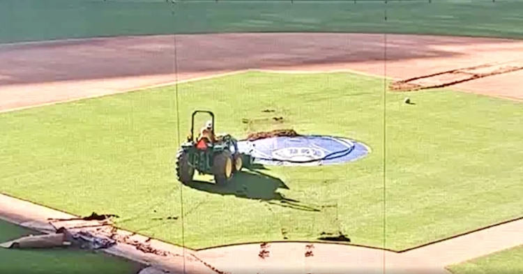In a rather strange instance of vandalism, a man on a tractor attempted to carve his name into the infield grass at Miller Park.