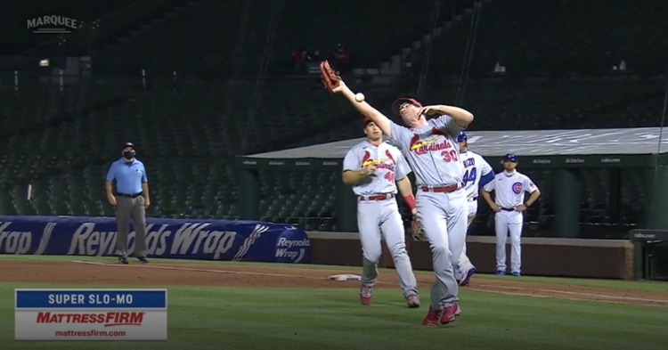St. Louis Cardinals pitcher Tyler Webb clearly needs to shag more fly balls at practice.