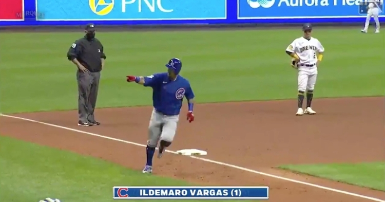 Ildemaro Vargas tacked on an insurance run via his first dinger in a Cubs uniform.