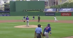 WATCH: Jason Adam commits error with embarrassingly bad throw to second base