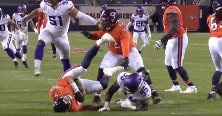Nick Foles collided with the ground upon getting thrown down by a Vikings pass rusher late in Monday's game.