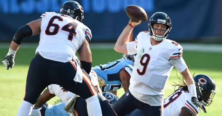 A makeshift offensive line contributed to the Chicago Bears' offensive struggles on the day.  (Credit: George Walker IV / Tennessean.com via Imagn Content Services, LLC)