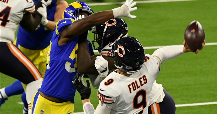 Bears quarterback Nick Foles, a former Ram, struggled with downfield accuracy issues in the loss. (Credit: Robert Hanashiro-USA TODAY Sports)