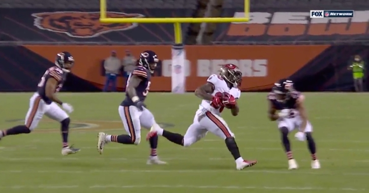 Bears cornerback Kyle Fuller forced a fumble with an epic hit on an unsuspecting Bucs running back.