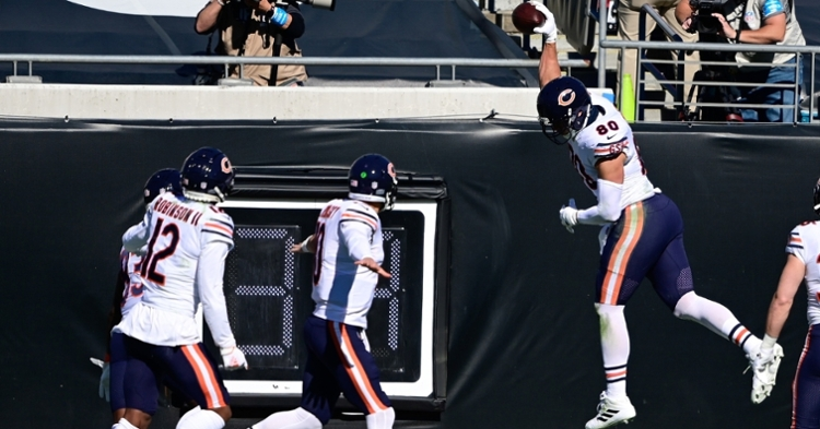 Bears tight end Jimmy Graham celebrated both of his touchdown receptions with emphatic spikes. (Credit: Douglas DeFelice-USA TODAY Sports)