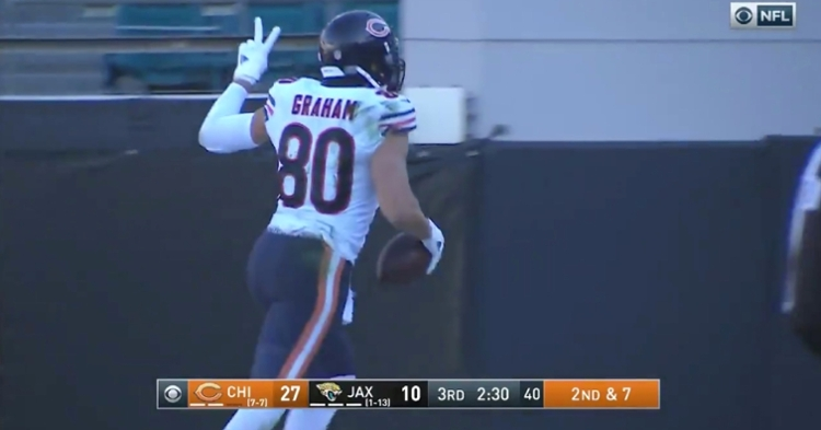 Following a Jaguars turnover, Bears tight end Jimmy Graham scored his second touchdown of the afternoon.