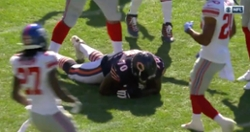 WATCH: Bears offensive lineman catches deflected pass on fourth down