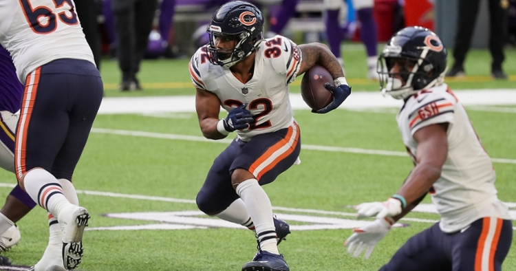 Bears running back David Montgomery ran roughshod over the Vikings, amassing a career-high 146 rushing yards. (Credit: Brad Rempel-USA TODAY Sports)