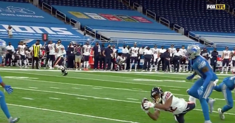 Allen Robinson II went parallel to the turf with a diving catch at Ford Field.