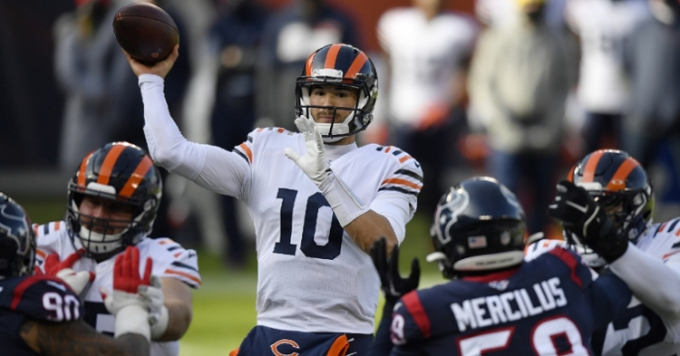 Bears quarterback Mitchell Trubisky served as a reliable field general in the battle against the Texans. (Credit: Quinn Harris-USA TODAY Sports)