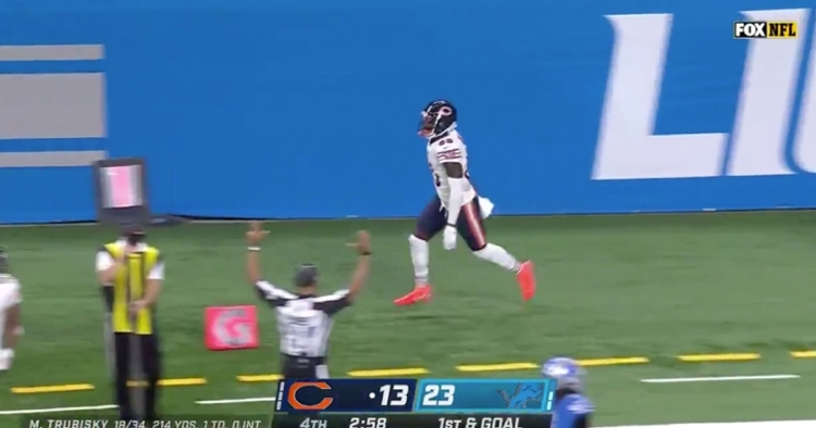 Javon Wims caught a one-yard touchdown pass from Mitchell Trubisky.
