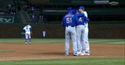 WATCH: Albert Almora Jr., Anthony Rizzo hug after Almora enters as pinch runner