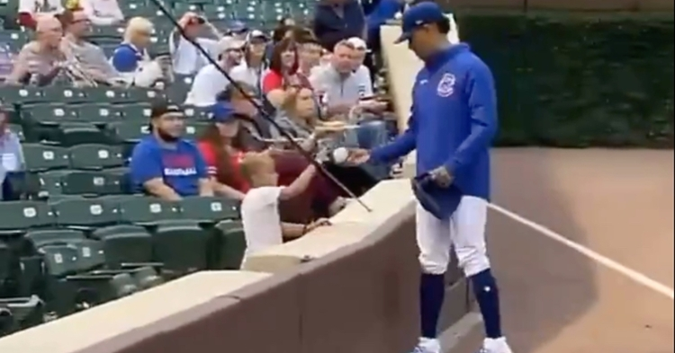 Prior to Thursday's game at Wrigley Field, Cubs starter Adbert Alzolay gifted a young fan with a special souvenir.