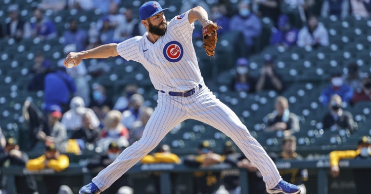 Jake Arrieta, once an ace for the Cubs, showed out in his first start with the North Siders since 2017. (Credit: Kamil Krzaczynski-USA TODAY Sports)