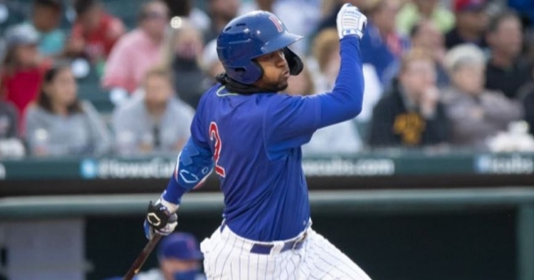 Avelino with two doubles in the loss (Photo via Iowa Cubs)