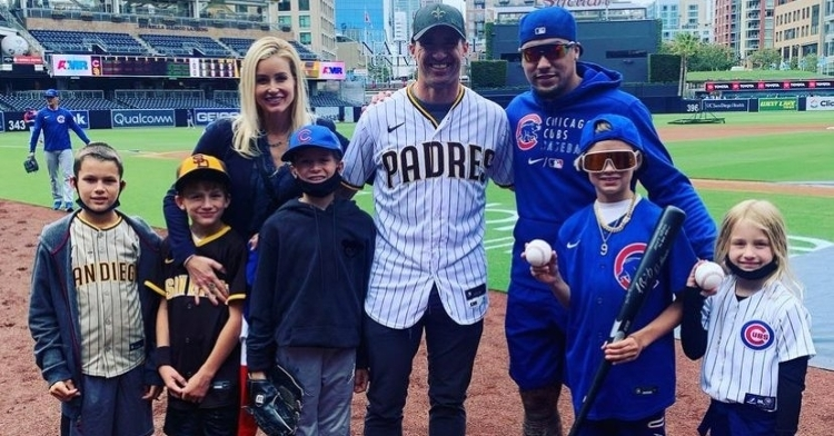 Javier Baez spent some quality time with Drew Brees and the rest of the Brees household at Petco Park. (Credit: @Saints on Twitter)