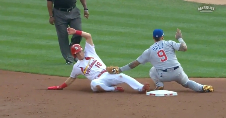 Javier Baez did not even need to look at Tommy Edman in order to tag him out at second base.